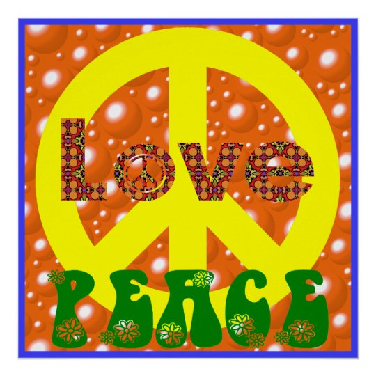 Vintage Poster Love Peace Hippie Peace Sign 60s