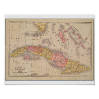 Vintage Poster Map of Cuba