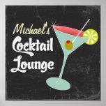 Vintage Poster, Martini Glass Cocktails Poster
