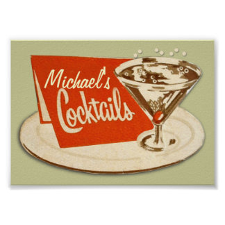 Vintage Poster, Martini Glass Cocktails Poster