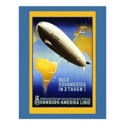 Vintage Poster of a Dirigible Personalized Flyer