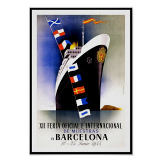 Vintage Poster Print Barcelona Spain Ship