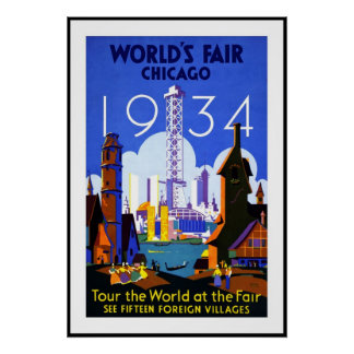 Vintage Poster Print Chicago Amercia 1934 Fair