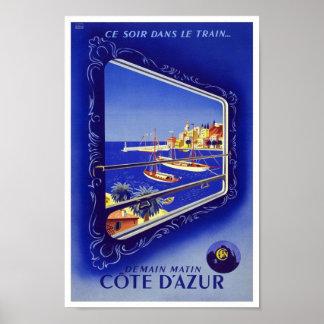 Vintage Poster Print Côte d'Azur Train France