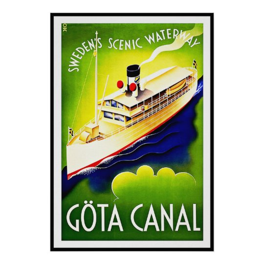 Vintage Poster Print Gota Canal Sweden Waterway