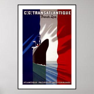Vintage Poster Print Transatlantique French France