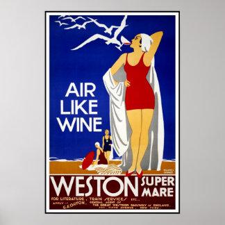 Vintage Poster Print Weston Super Mare