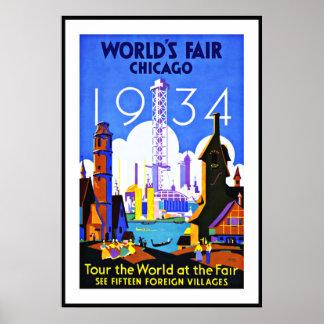 Vintage Poster Print World s Fair Chicago Travel Poster