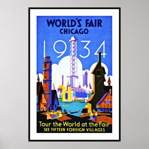 Vintage Poster Print World's Fair Chicago Travel Poster