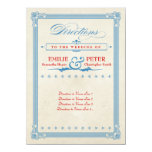 Vintage Poster Red, White & Blue Directions Card 11 Cm X 16 Cm Invitation Card