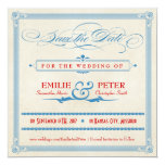Vintage Poster Red, White & Blue Save the Date 13 Cm X 13 Cm Square Invitation Card