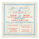 Vintage Poster Red, White & Blue Square Wedding 13 Cm X 13 Cm Square Invitation Card