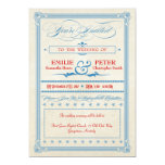 Vintage Poster Red, White & Blue Wedding 13 Cm X 18 Cm Invitation Card