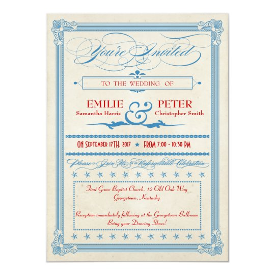 Vintage Poster Red, White & Blue Wedding Card