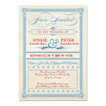 Vintage Poster Red, White & Blue Wedding, RSVP 13 Cm X 18 Cm Invitation Card
