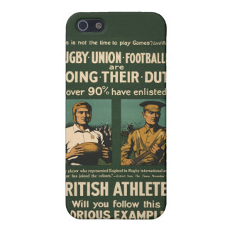Vintage Poster: Rugby players call for duty iPhone 5/5S Covers