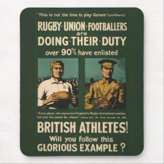 Vintage Poster: Rugby players call for duty Mouse Mat