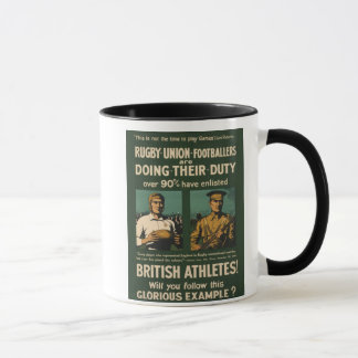 Vintage Poster: Rugby players call for duty Mug