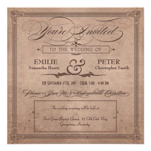 Vintage Poster Rustic Cocoa Wedding & Reception Custom Announcements
