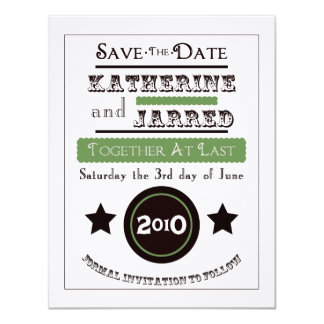 "Vintage Poster ""Save the Date"" Mossy Green 11 Cm X 14 Cm Invitation Card"