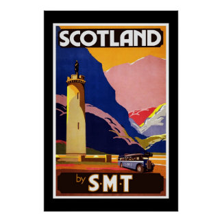 Vintage Poster Scotland by S M T Travel Print