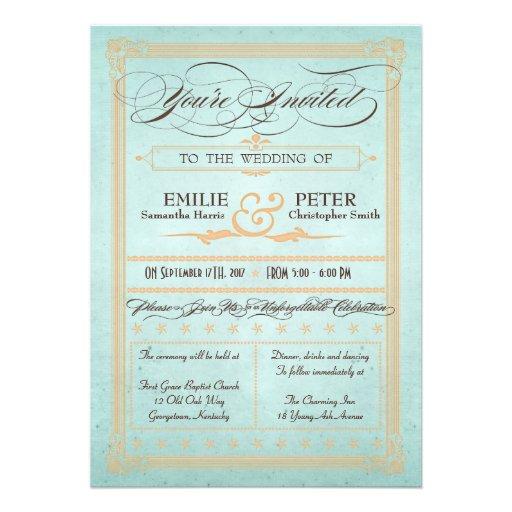 Vintage Poster Style Blue Wedding Invitation
