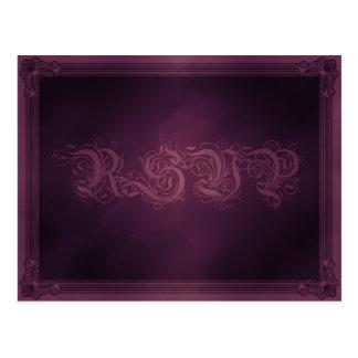 Vintage Poster Style Purple RSVP Postcard