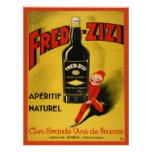Vintage Poster with French Wine Advertising