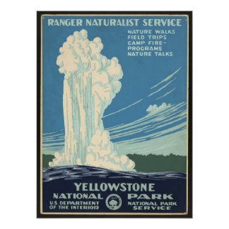 Vintage Posters Yellowstone National Park Geyser