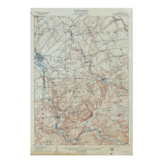 Vintage Potsdam New York Topographical Map Poster