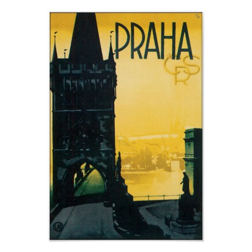 Vintage Prague (Praha) Fine Travel Poster