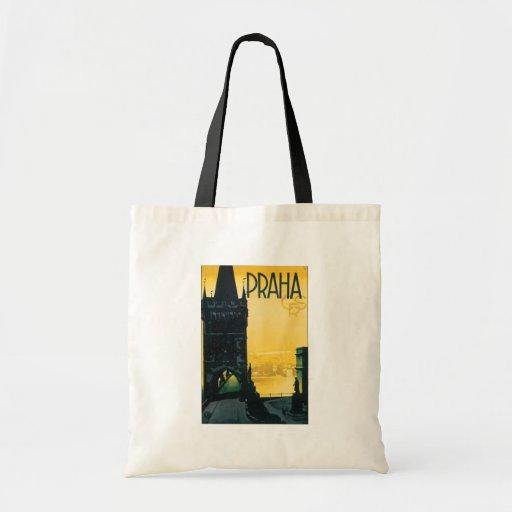 Vintage Prague (Praha) Poster Budget Tote Bag