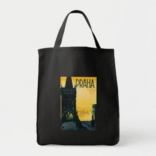 Vintage Prague (Praha) Poster Grocery Tote Bag