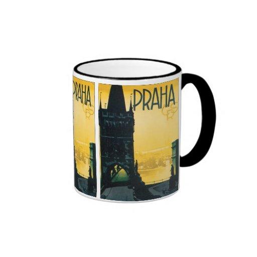 Vintage Prague (Praha) Poster Ringer Coffee Mug