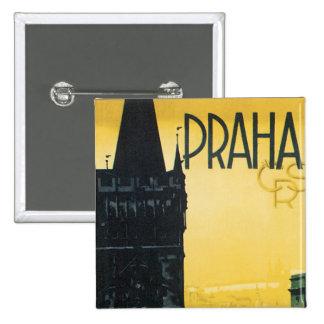 Vintage Praha Poster 15 Cm Square Badge