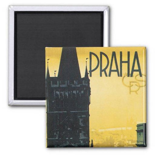 Vintage Praha Poster Fridge Magnets