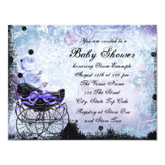 Vintage Pram Lavender Purple Baby Shower Invite