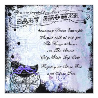 "Vintage Pram Lavender Purple Baby Shower 5.25"" Square Invitation Card"