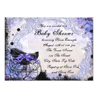"Vintage Pram Lavender Purple Baby Shower 5"" X 7"" Invitation Card"