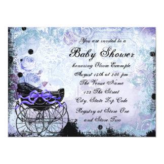 Vintage Pram Lavender Purple Baby Shower Invitations
