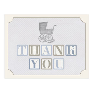 vintage pram thank you card, baby carriage note postcard