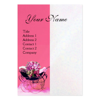 VINTAGE PRAM WITH FLOWERS  BABY SHOWER,pearl paper Business Card Templates