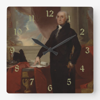 Vintage President portrait of George Washington Square Wall Clock