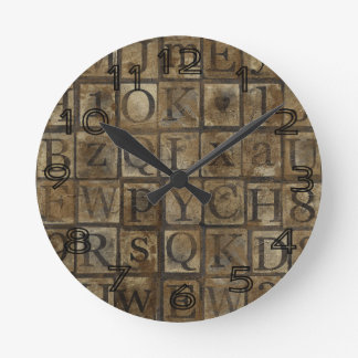 Vintage Press Letters Grungy Round Wall Clocks