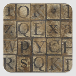 Vintage Press Letters Grungy Square Stickers