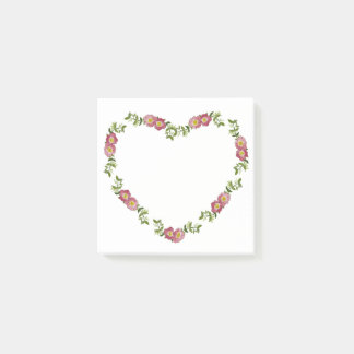 Vintage Pressed Flowers Heart Post-it Notes