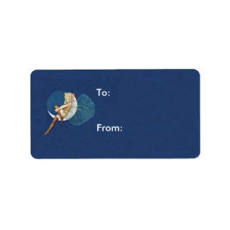 Vintage Pretty Blue Fairy Stockings Blue Moon Address Label