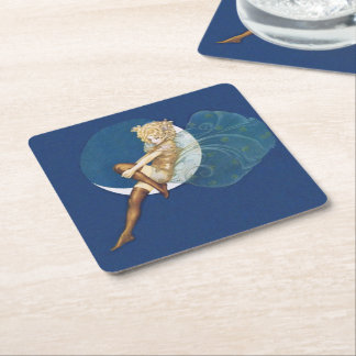 Vintage Pretty Blue Fairy Stockings Blue Moon Square Paper Coaster