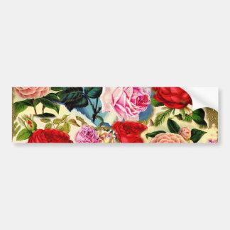 Vintage Pretty Chic Floral Rose Garden Collage Bumper Sticker