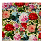Vintage Pretty Chic Floral Rose Garden Collage Poster